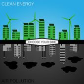 Clean Energy or Pollution? Choose Your Side — Stock Vector