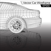 Car Wireframe — Stock Vector