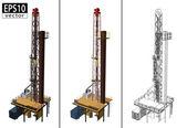 Taladros de aceite 3d — Vector de stock