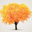 Autumn Tree with Sunlight — Stock Vector