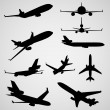 Set different airplane silhouettes. — Stock Vector