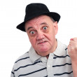 Old man following is the fist — Stock Photo