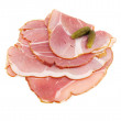 Sliced ham with rind — Stock Photo