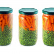 Three jars of canned vegetables — Stock Photo