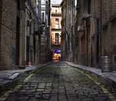 Looking down a long dark back alley — Stock Photo