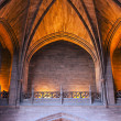 Arched ceiling inside cathedral - Stock Photo