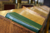 Church hymm book inside cathedral — Stock Photo