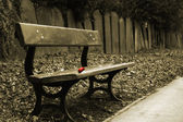Sepia shot of bench with a single red rose and a row of gravestones behind — Stock Photo