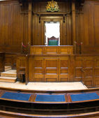 Very old courtroom (1854) with Judges chair at St Georges Hall, Liverpool,UK — Stock Photo