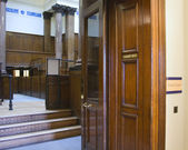 Very old courtroom (1854) at St Georges Hall, Liverpool,UK — Stock Photo