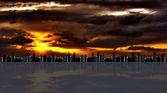 Gród przeciwko hdr zachód słońca — Zdjęcie stockowe