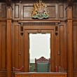View into courtroom from judges chair — Stock Photo