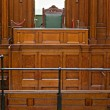 View into courtroom from judges chair - Stock Photo