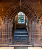 Gothic arched doorway inside Cathedral — Stock Photo
