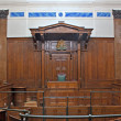 Stock Photo: View of Crown Court room inside St Georges Hall, Liverpool, UK