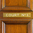 Royalty-Free Stock Photo: Oak door leading into court