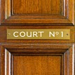 Stock Photo: Oak door leading into court