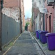 Rubbish bins lined up in narrow cobblestoned alley — Stock Photo #21622371