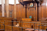 View of Crown Court room inside St Georges Hall, Liverpool, UK — Stock Photo