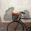 Old rusty bicycle with colorful peppers in basket — Stock Photo