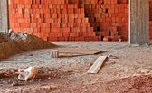 Interior of construction site with pile of sand and rubble — Stock Photo
