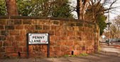 Penny Lane street sign Made famous by the Beatles song — Stock Photo