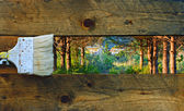 Painting nature on old wooden boards — Stock Photo