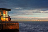 River Mersey, Liverpool at sunset — Stock Photo