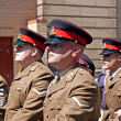 Members of British armed forces marching through liverpool — Stock Photo #25943239