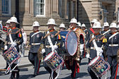 The Band of Her Majesty's Royal Marines marching through Liverpo — Stock Photo