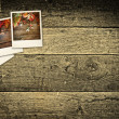 Autumn, fall polaroid pictures on rustic wooden table — Stock Photo #30086211