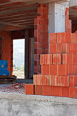 Stack of red building blocks — Stock Photo