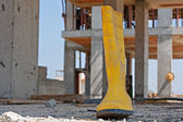 Construction workers yellow safety boot — Stock Photo