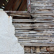Stock Photo: Old lath and plaster on derelict building