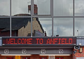 Liverpool, UK, April 21st 2012. Welcome to Anfield sign on Liver — Stok fotoğraf