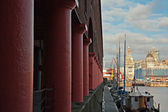 Albert Dock and Liver Buildings Liverpool UK  — Stock Photo