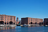 Albert Dock and Angkican Cathedral  Liverpool UK — Stock Photo