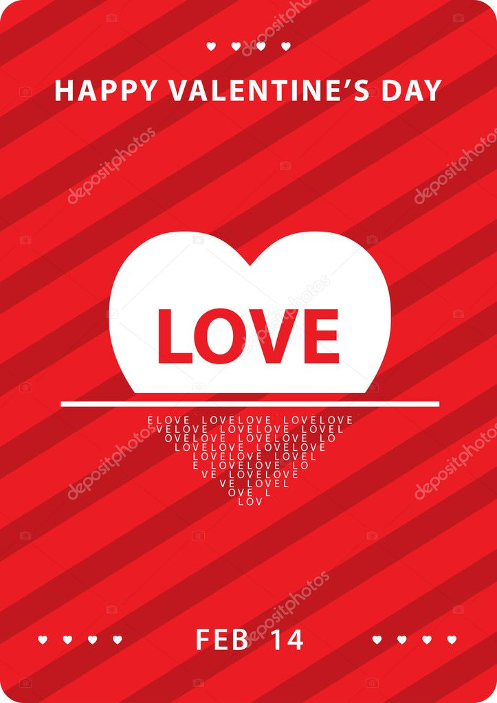 Simple love card for valentines day  Stock Vector #20795719