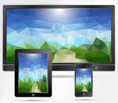 Tablet Pc, telefoon, tv apparaten — Stockvector