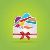 彩色的鸡蛋在信封的礼物 — 图库矢量图片