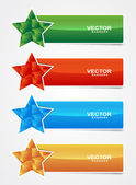 Colored star banner with cubes form — Stock Vector