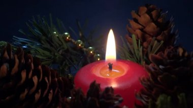 Closeup candle ornament — Stock Video