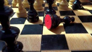 Closeup move in chess — Stock Video