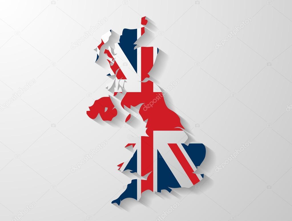 英国地图阴影效果 — 矢量图片作者