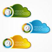 Option 1 2 3 cloud banner set — Stock Vector