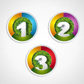 1 2 3 steps button with grass element — Stock Vector