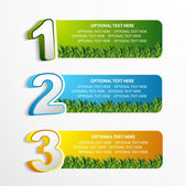 1 2 3 position banner with grass element — Stock Vector