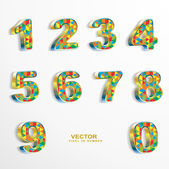 Colored pixel 3D numbers — Stock Vector