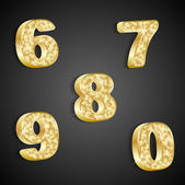 Vector set of golden numbers 6 to 0 — Stock Vector