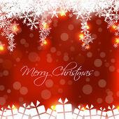 Feliz navidad tarjeta con presentación caja de regalo — Vector de stock